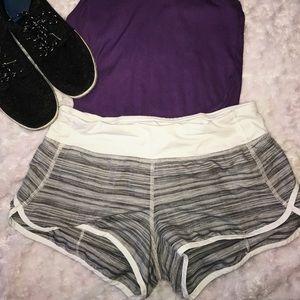 Lulu Lemon Gray and White Shorts